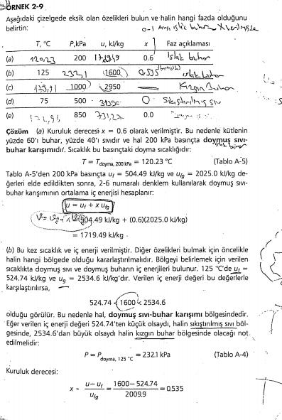 termodinamik ödev soru çözümü yapılır
